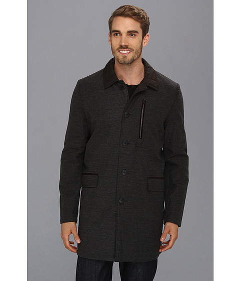 Vince Camuto - Luxe Reversible Quilted Car Coat (Charcoal) Men