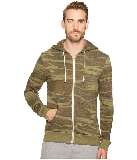 Alternative - Printed Rocky Zip Hoodie (Camo) Men's Sweatshirt