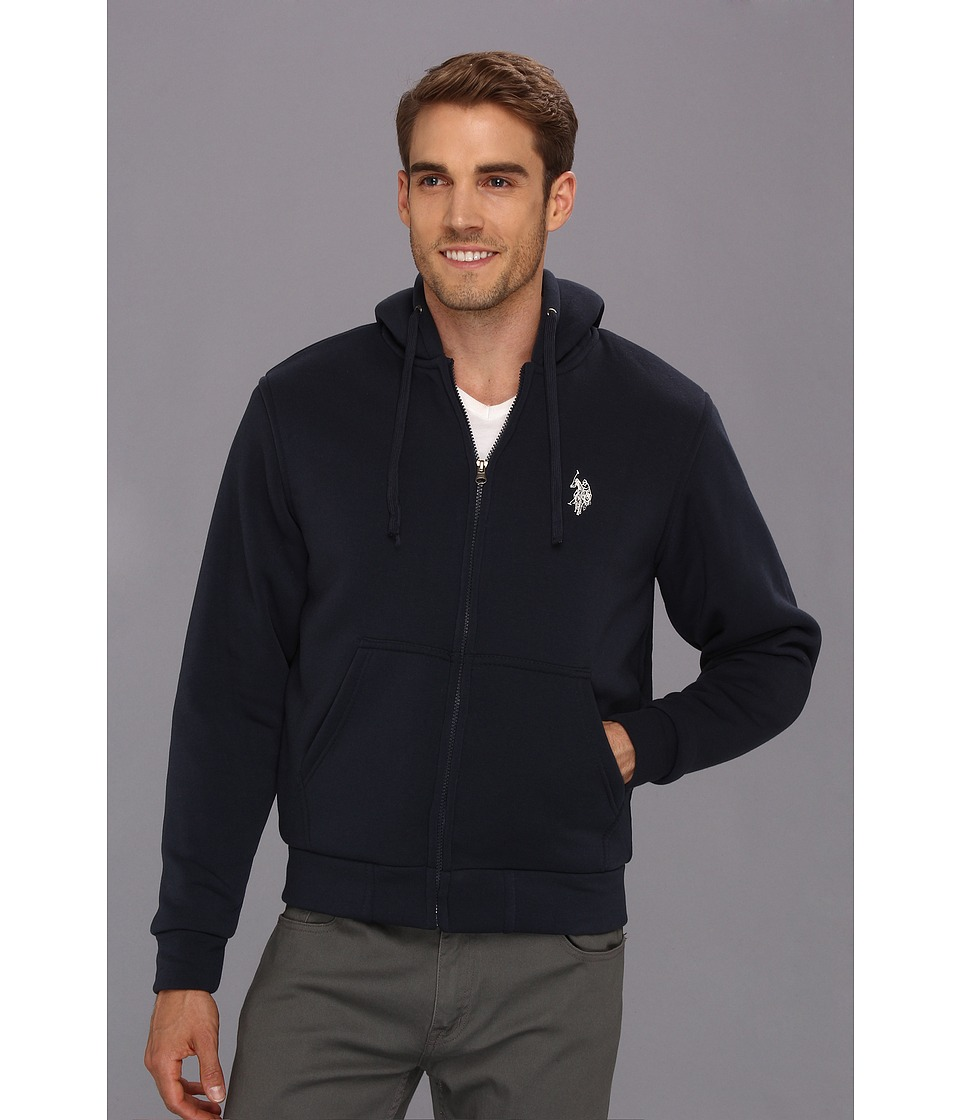 U.S. POLO ASSN. - Fleece Hoodie w/ Nubby Polar Fleece Lining (Classic Navy) Men's Sweatshirt