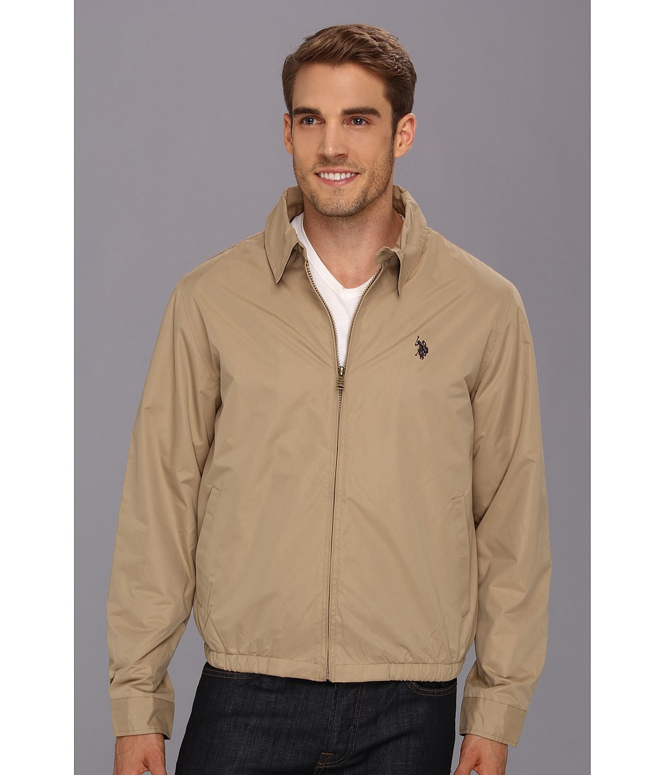 U.S. POLO ASSN. - Micro Golf Jacket w/ Polar Fleece Lining (Desert Khaki) Men's Jacket