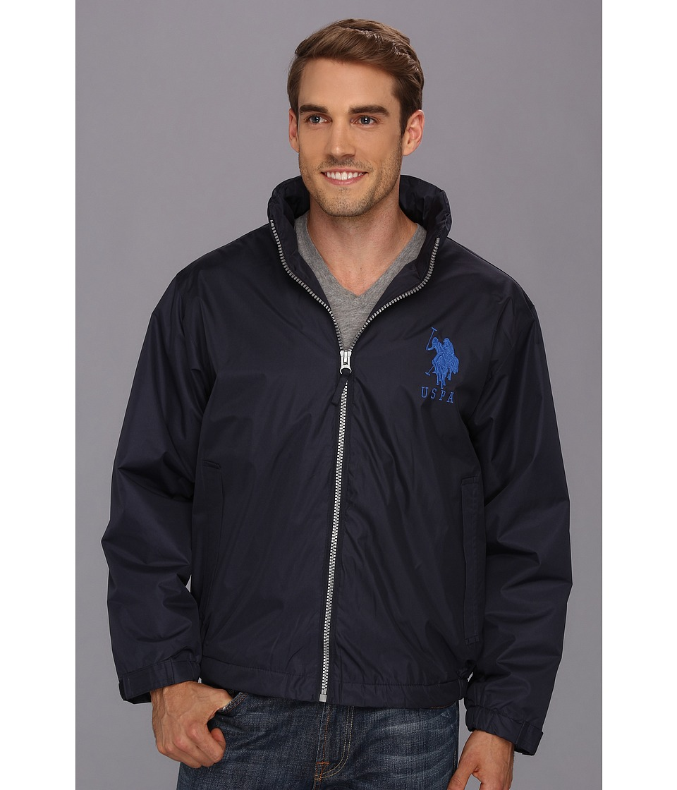 U.S. POLO ASSN. - Solid Windbreaker w/ Polar Fleece Lining (Classic Navy) Men