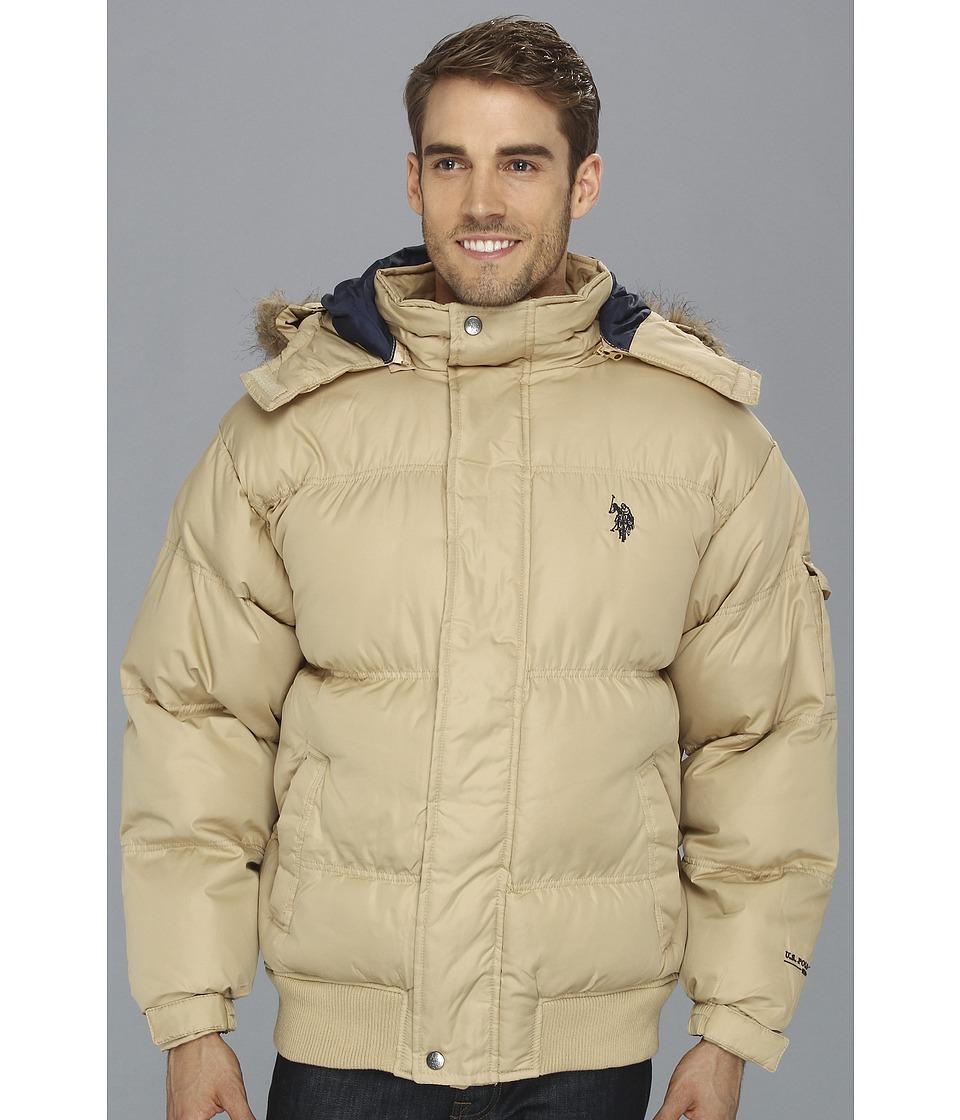 U.S. POLO ASSN. - Short Snorkel Coat w/ Small Pony (Desert Khaki) Men's Coat plus size,  plus size fashion plus size appare