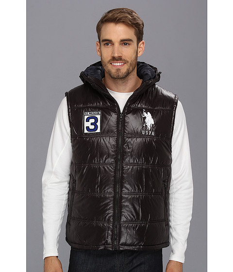 U.S. POLO ASSN. - Double Quilted Puffer Color Block Vest (Black) Men