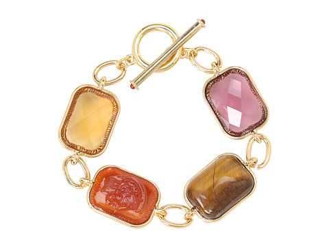 LAUREN by Ralph Lauren - 7 1/2 Multi Bezel Set Stone w/Ring Toggle Bracelet (Multi/Gold) Bracelet