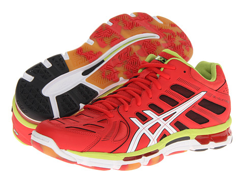 ASICS - Gel-Volleycross Revolution MT (Blood Orange/White/Lime) Men's Volleyball Shoes