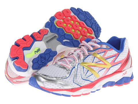 New Balance - W1080v4 (White/Coral/Campanula) Women's Shoes