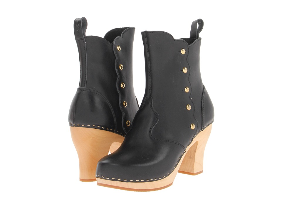 Swedish Hasbeens - Button Boot (Black/Nature Sole) Women's Pull-on Boots