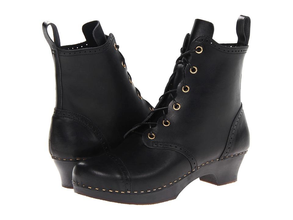 Swedish Hasbeens - Grandma Debutant Boot (Black/Black Sole) Women's Lace-up Boots