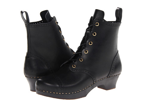 Swedish Hasbeens - Grandma Debutant Boot (Black/Black Sole) Women
