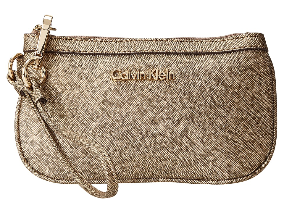 Calvin Klein - Saffiano Wristlet H2RL1023 (Antique Bronze Metallic) Clutch Handbags
