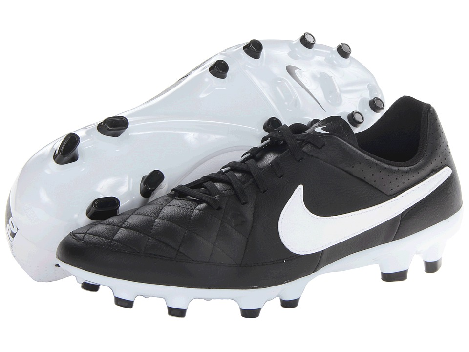 Nike - Tiempo Genio Leather FG (Black/Black/White Multi Snake) Men's Soccer Shoes