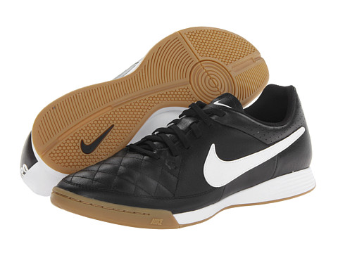 Nike - Tiempo Genio Leather IC (Black/White) Men's Soccer Shoes