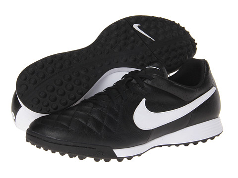 Nike - Tiempo Genio Leather TF (Black/White) Men's Soccer Shoes
