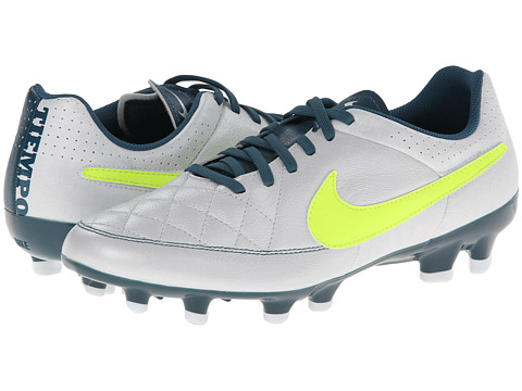 Nike - Tiempo Genio FG (White/Night Factor/Volt) Women's Soccer Shoes