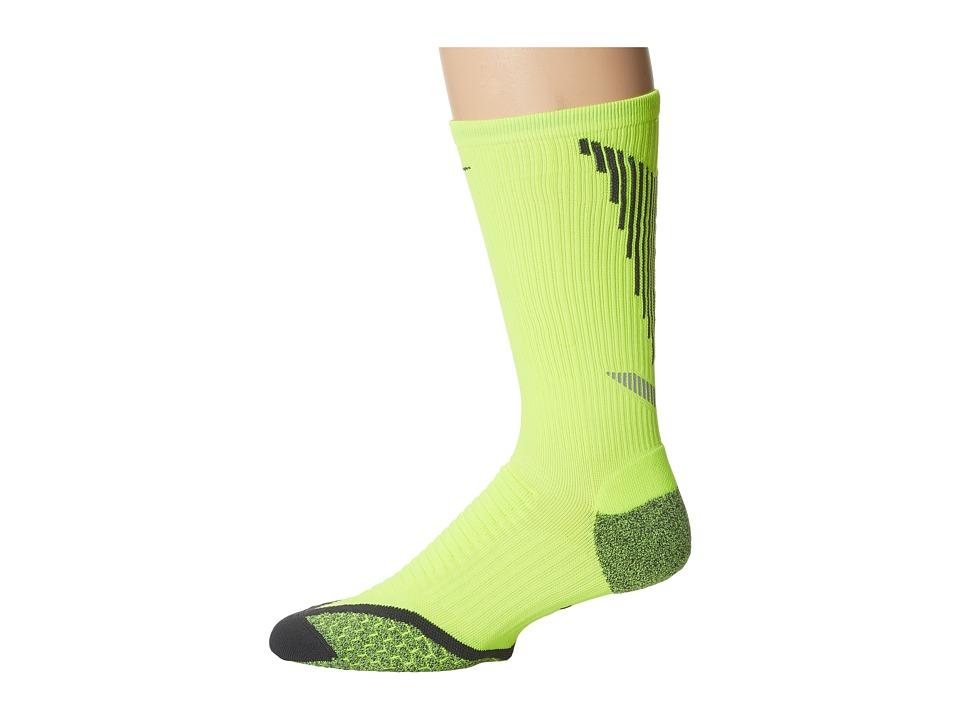 Nike Elite Running Cushion Crew (Volt/Anthracite/Anthracite) Crew Cut Socks Shoes
