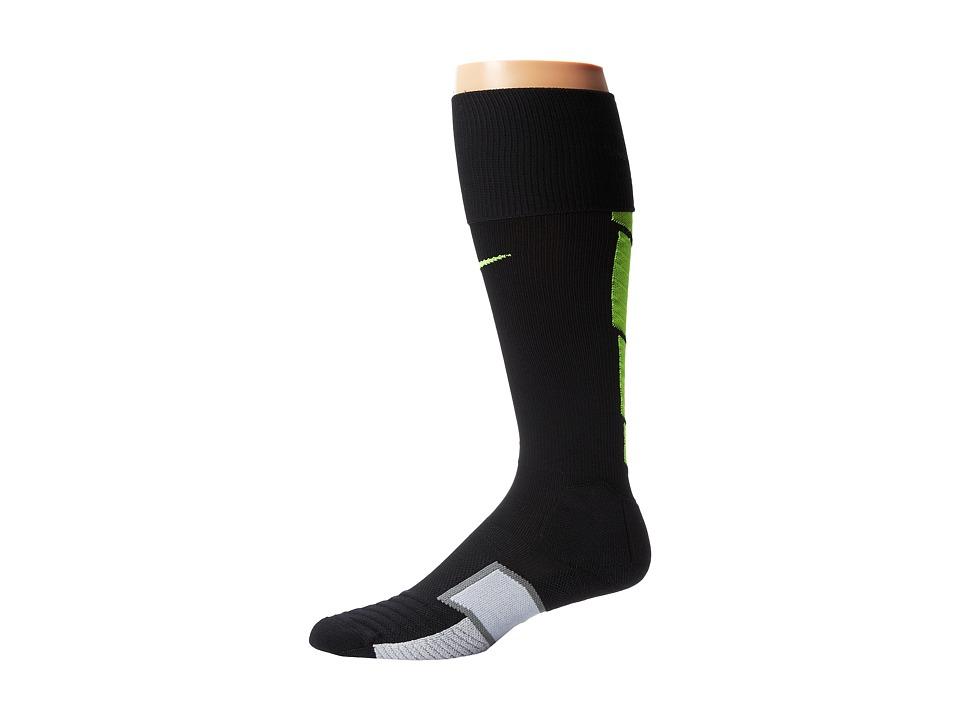 Nike - Elite Match Fit Soccer Over The Calf (Black/Wolf Grey/Volt/Volt) Knee High Socks Shoes