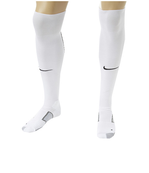 Nike - Elite Match Fit Soccer Over The Calf (White/Wolf Grey/Black/Black) Knee High Socks Shoes