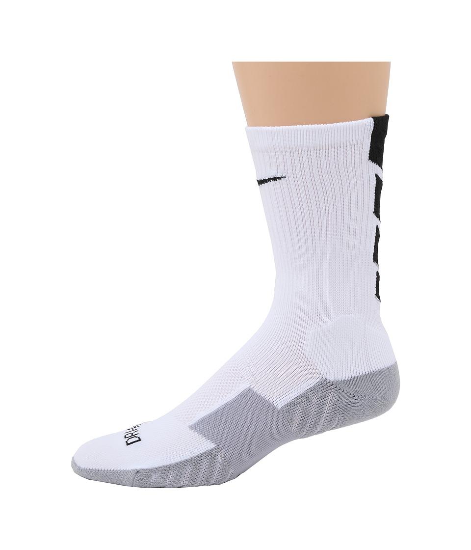 Nike - Stadium Soccer Crew (White/Wolf Grey/Black/Black) Crew Cut Socks Shoes