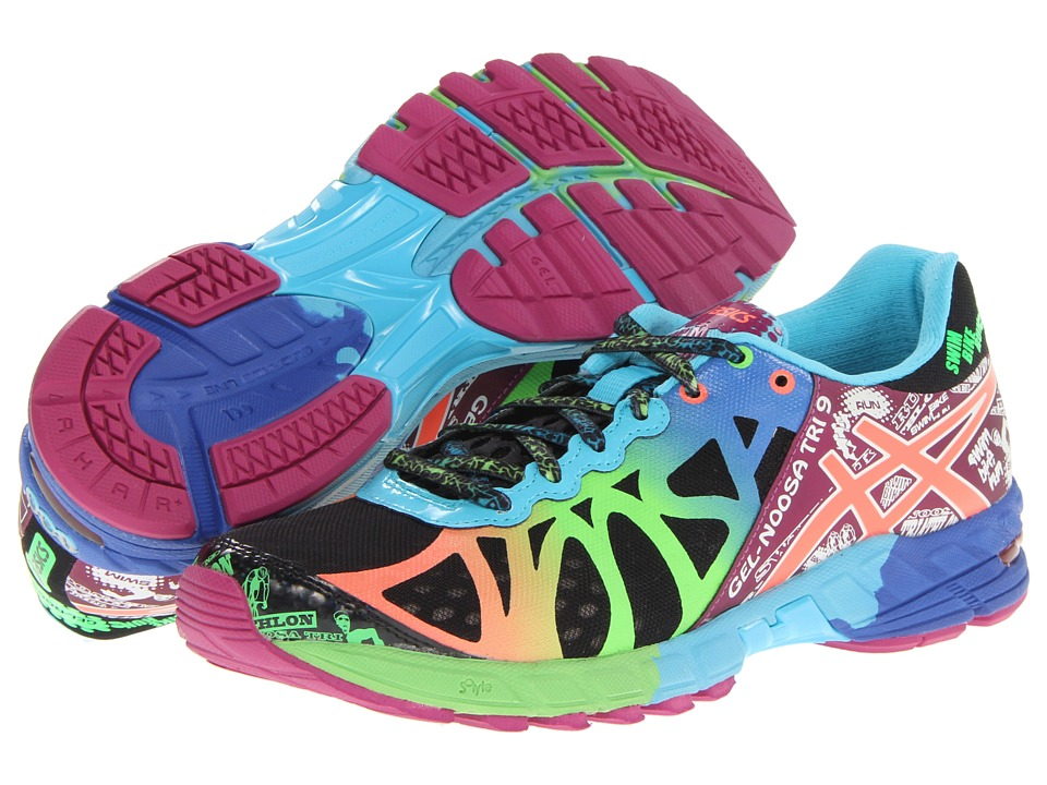 ASICS - GEL-Noosa Tri 9 (Black/Neon Coral/Green) Women's Running Shoes