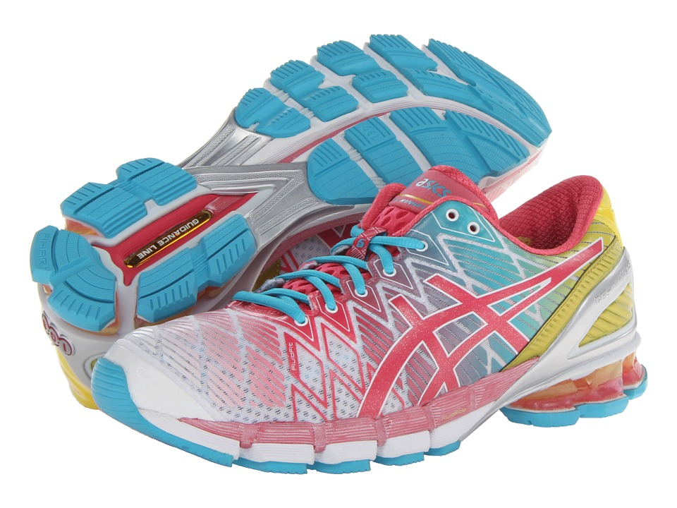 ASICS - Gel-Kinsei 5 (White/Teaberry/Yellow) Women's Running Shoes