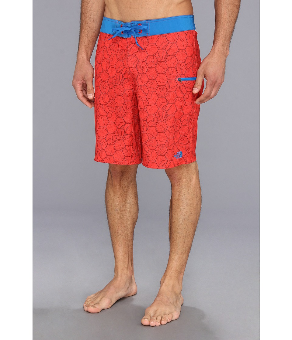 The North Face - Olas Boardshort (Fiery Red Print) Men's Swimwear