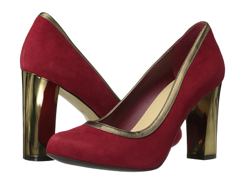 Cole Haan - Edie High Party Pump (Velvet Red Suede/Gold Metallic) Women's Shoes