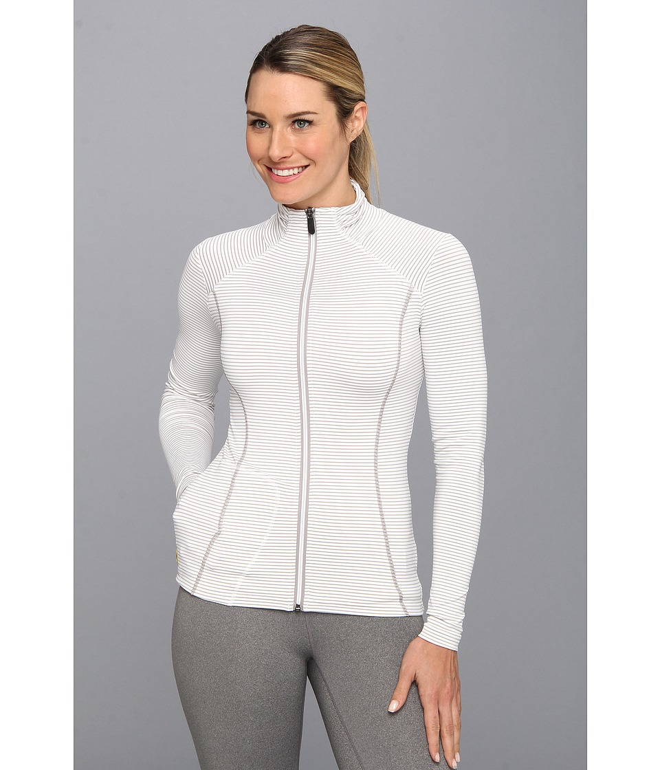 Lole - Essential Full Zip Jacket (White Stripe) Women