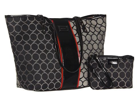 Nine West - 9 Jacquard Medium Tote (Black/Ivory) Tote Handbags