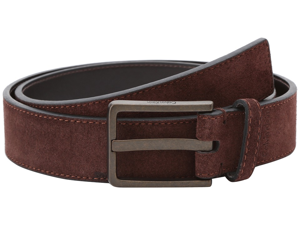 Calvin Klein - 35mm Stitched Suede w/ Logo Buckle (Brown) Men's Belts