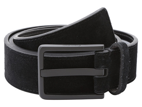 Calvin Klein - 35mm Stitched Suede w/ Logo Buckle (Black) Men