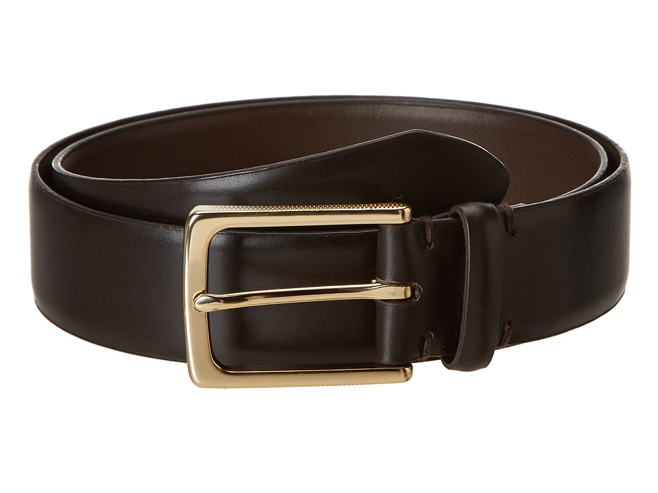 John Varvatos - 35 MM Textured Harness on Vachetta Leather (Espresso) Men's Belts