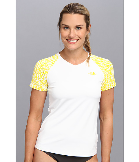 The North Face - Class V Graphic Shirt (TNF White/TNF Yellow Texture Print) Women's T Shirt