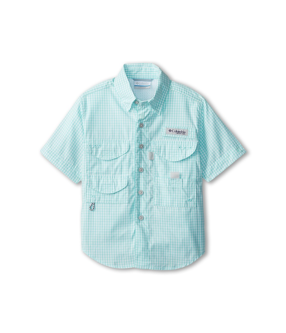 Columbia Kids - Super Bonehead S/S Shirt (Little Kids/Big Kids) (Gulf Stream Gingham) Boy's Short Sleeve Button Up