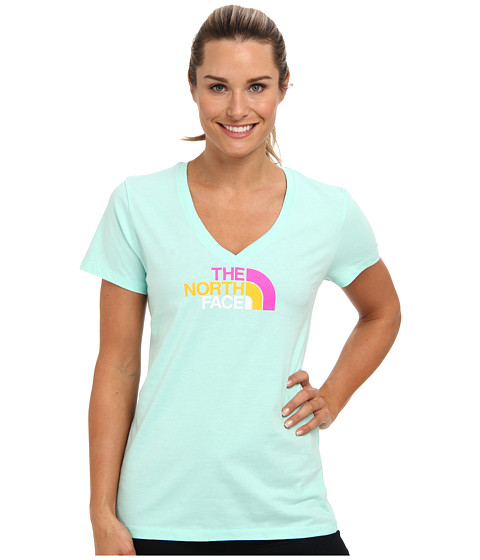 The North Face - S/S Multi Half Dome V-Neck Tee (Beach Glass Green) Women