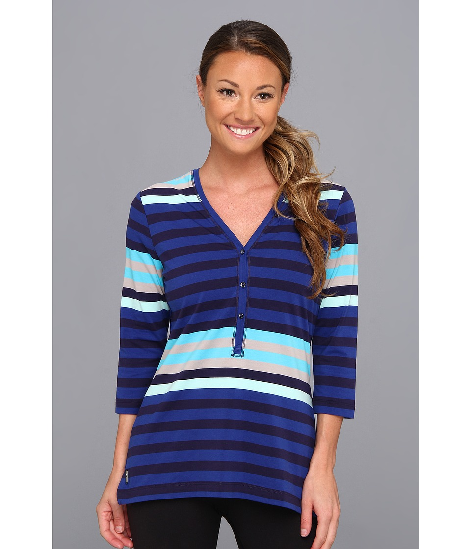 Lole - Adore Top (Solidate Blue Multi Stripes) Women's Long Sleeve Pullover