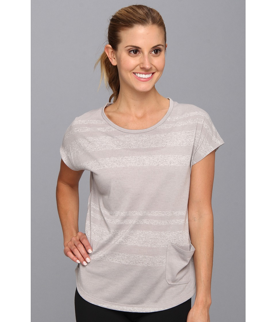 Lole - Lisa Top (Warm Grey Linen Stripe) Women's Short Sleeve Pullover