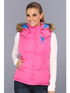 SALE! $26.7 - Save $25 on U.S. Polo Assn Hoodie Faux Fur Trim Solid Vest (Totally Pink) Apparel - 48.65% OFF $52.00