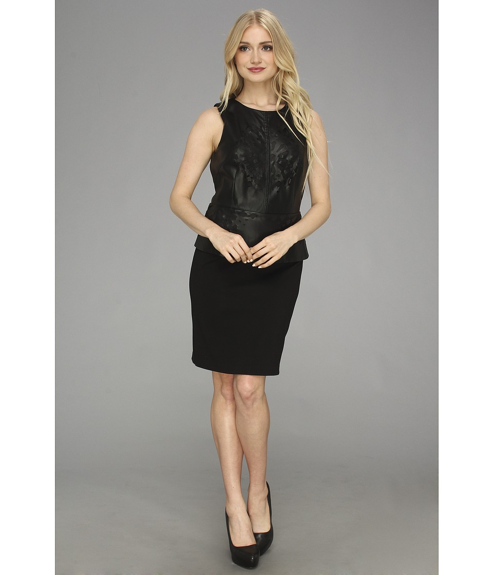 Laundry by Shelli Segal Faux Leather and Ponte Peplum Dress (Black) Women