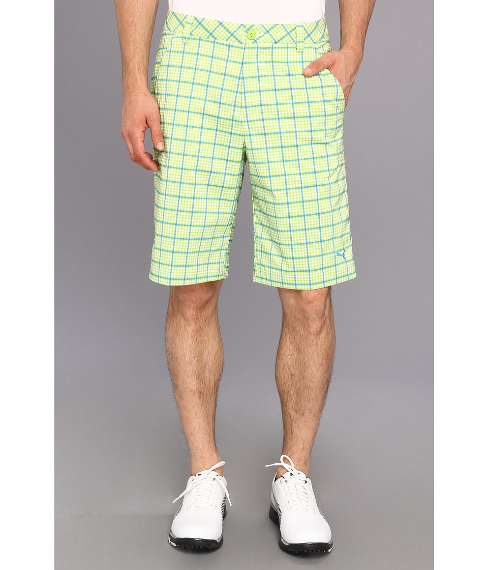 PUMA Golf - Plaid Tech Short (Lime Green) Men's Shorts