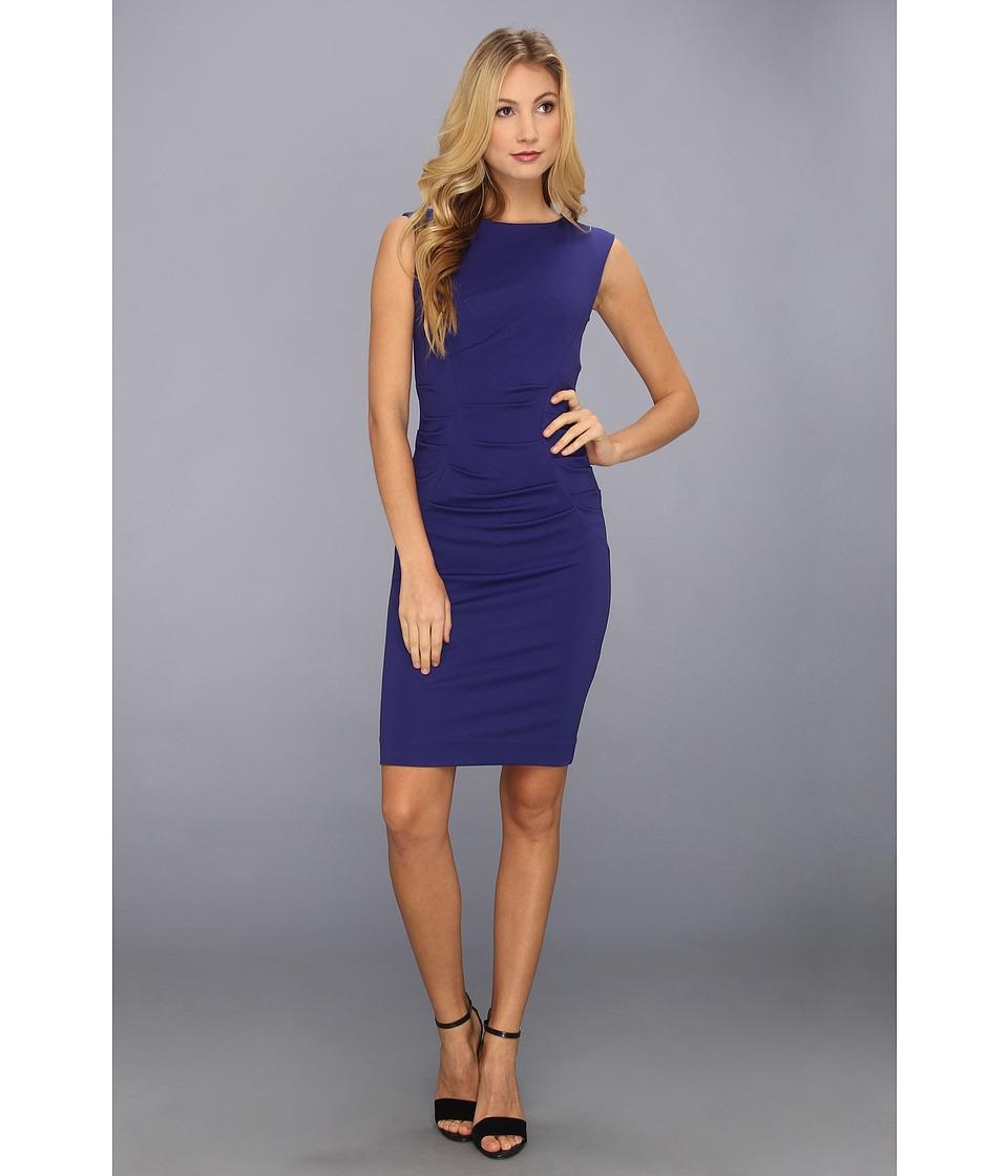 Nicole Miller Ponte Ruched Dress Womens Dress (Blue)
