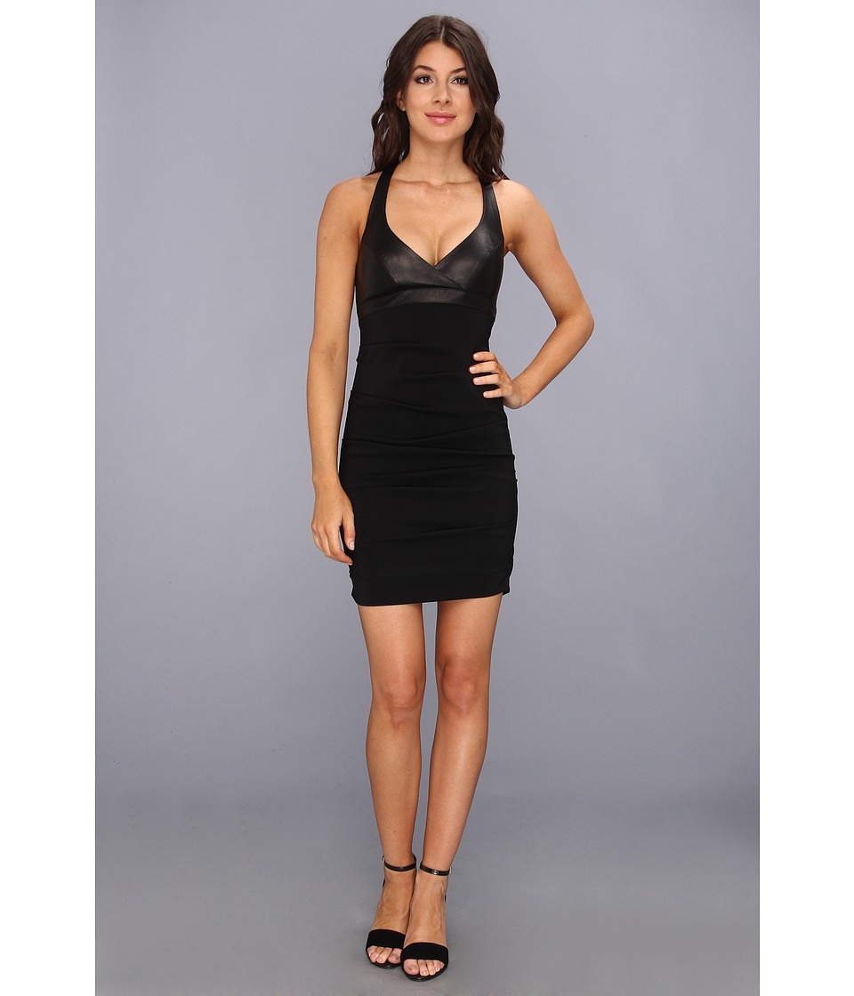 Nicole Miller Leather Combo Dress Womens Dress (Black)