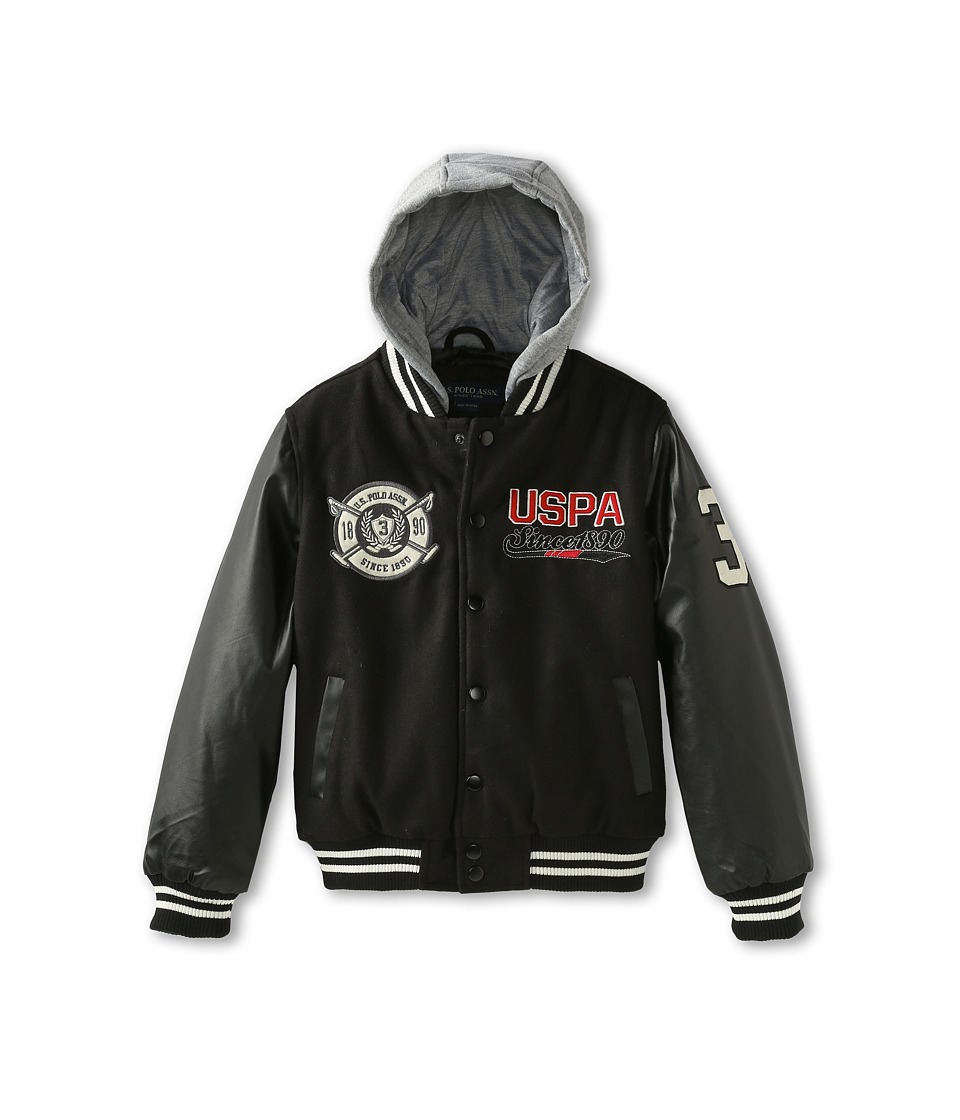 U.S. POLO ASSN. Kids - Wool Varsity Jacket with Attached Sherpa Lined Fleece Hood (Big Kids) (Black) Boy's Coat