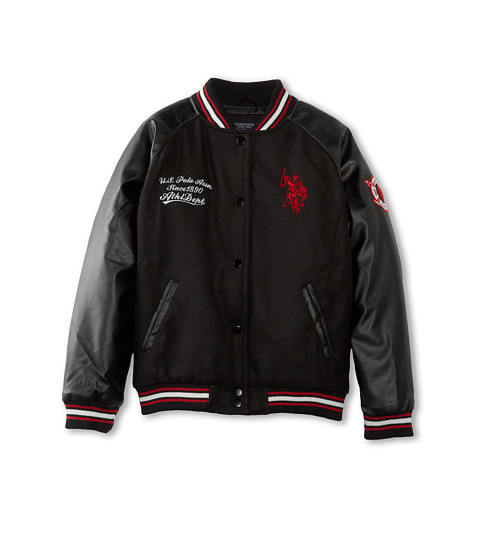 U.S. POLO ASSN. Kids - Varsity Jacket w/ Embroidered Logos Patches (Big Kids) (Black) Girl