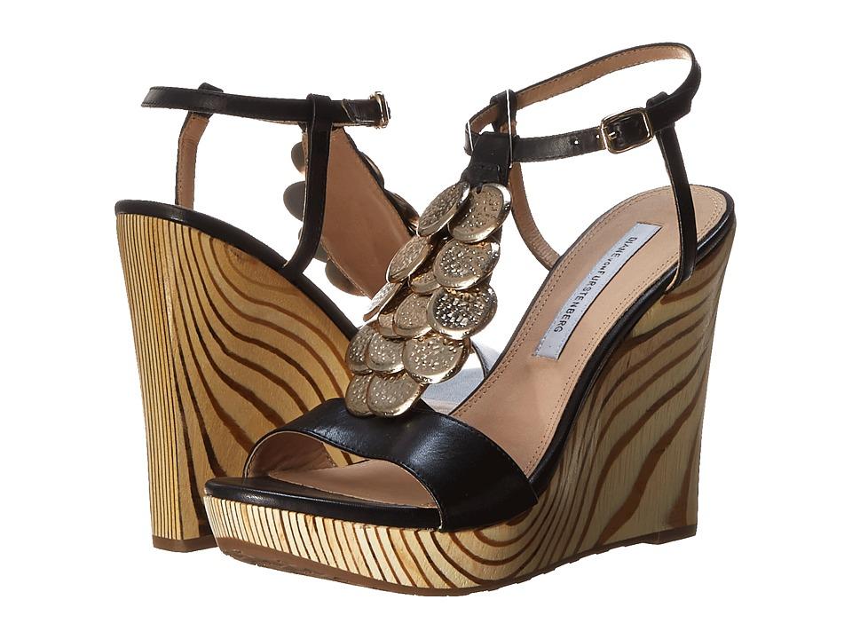 Diane von Furstenberg - Stefy (Black Vacchetta) Women's Wedge Shoes