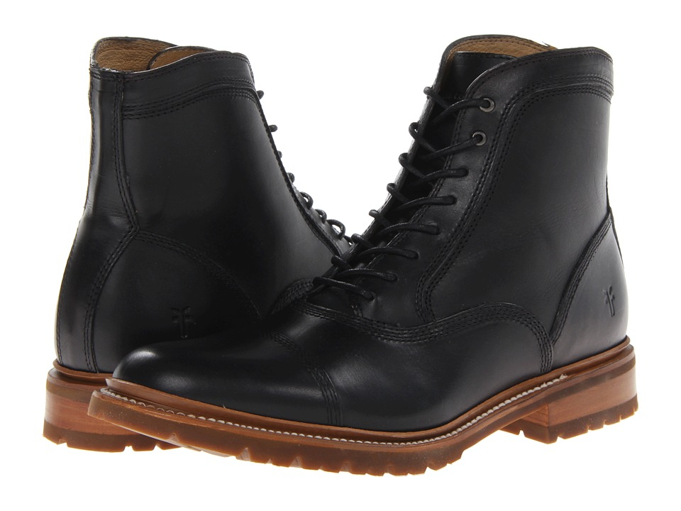 Frye - James Bal Lug (Black Smooth Full Grain) Men