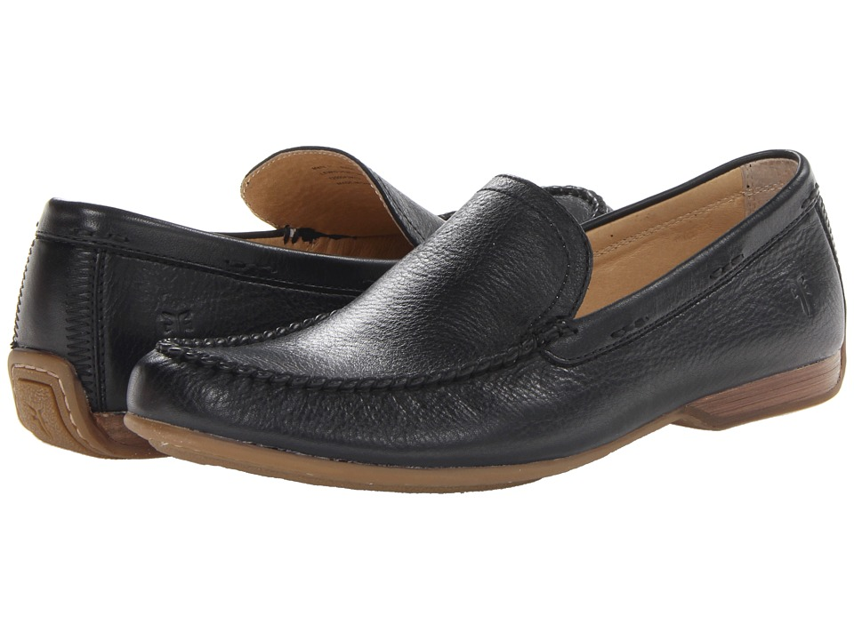 Frye - Lewis Venetian (Black Soft Pebbled Full Grain) Men's Slip on Shoes