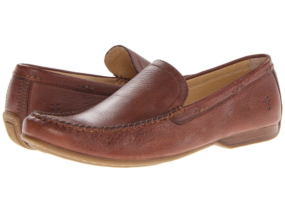 Frye - Lewis Venetian (Cognac Soft Pebbled Full Grain) Men's Slip on Shoes