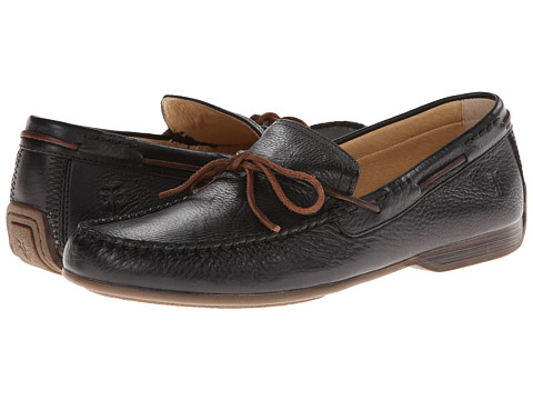 Frye - Lewis Tie (Black Soft Pebbled Full Grain Leather) Men