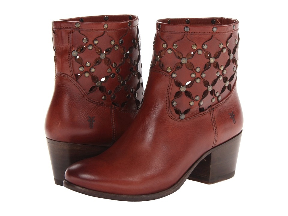 Frye - Courtney Stud Overlay Bootie (Burnt Red Soft Full Grain) Cowboy Boots