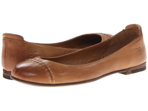 Frye - Phillip Cap Toe Ballet (Camel Soft Vintage Leather) Women's Flat Shoes